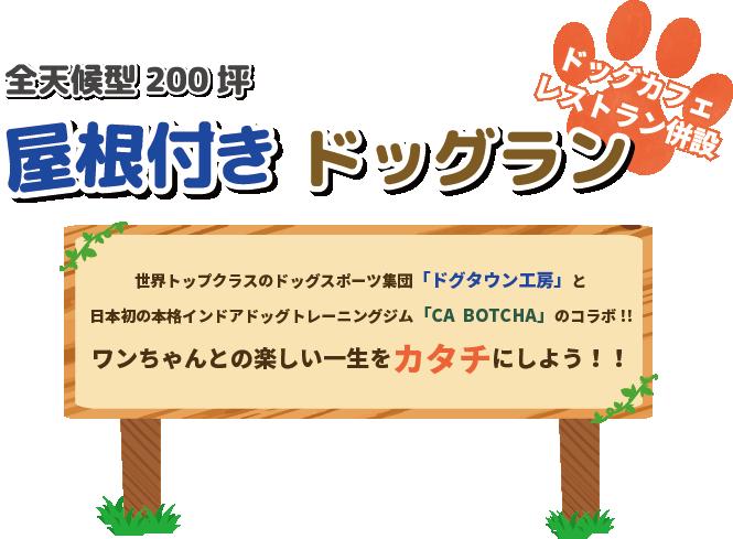 全天候型200坪屋根付きドッグラン ワンちゃんとの楽しい一生をカタチにしよう!!